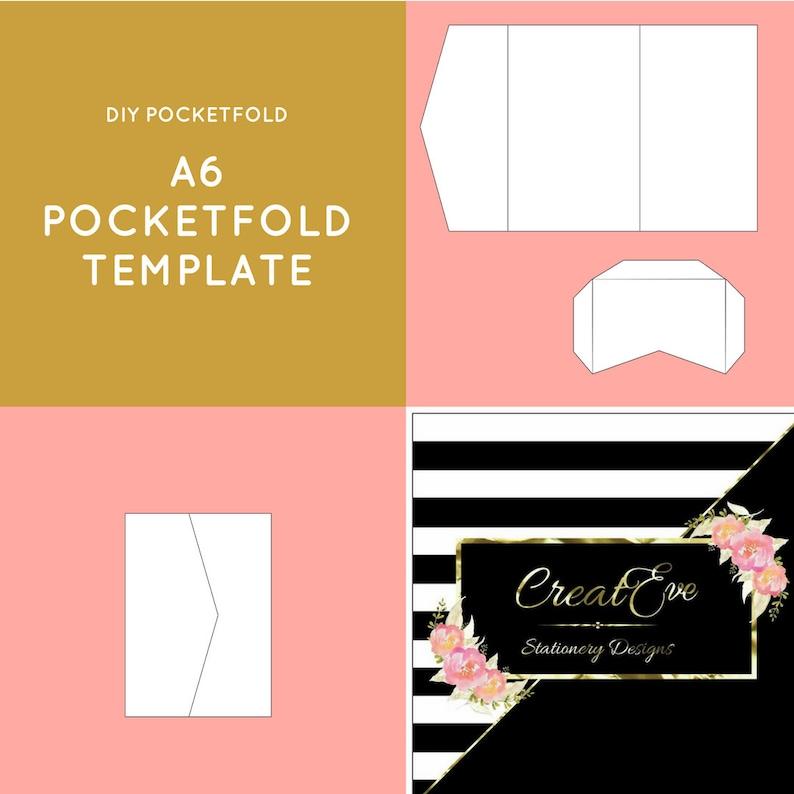 A6 Pocketfold Template DIY Wedding Invitation