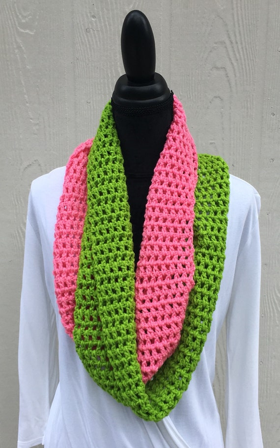 8b3ce0e823746 Pink and Green Infinity Scarf Handmade Scarf Crochet Scarf   Etsy