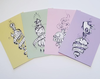 Set of 4 - Harry Potter Potions Tattoo Flash - A6 Postcards