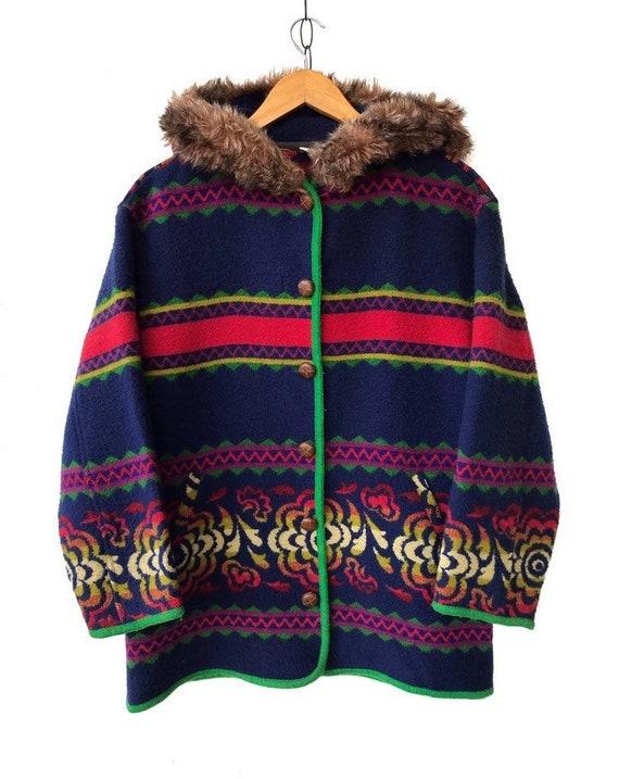 Italian Made BENETTON Aztec Tribal Wool Hooded Fur