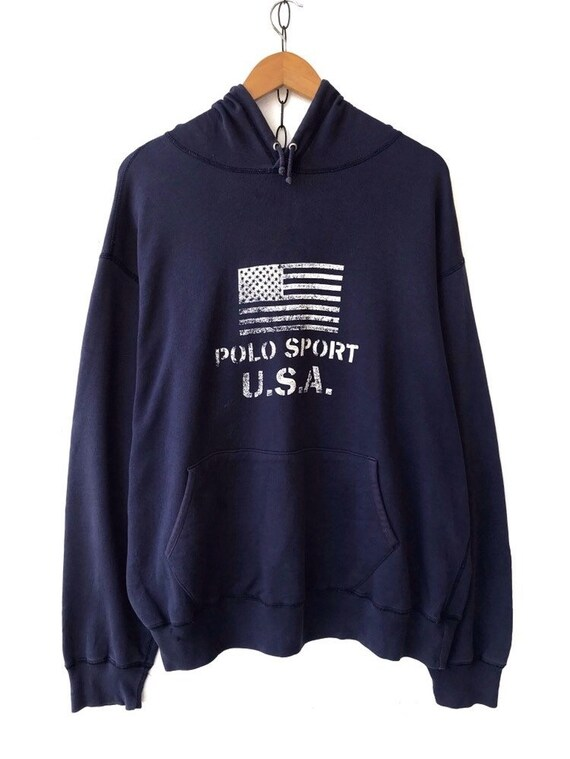 90s Vintage Polo RL Sport USA Hooded Pullover Swea