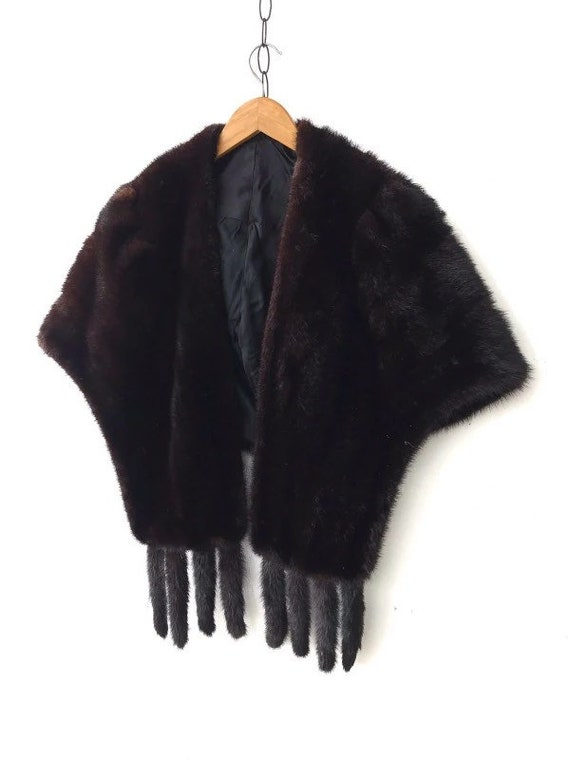 Vintage Platinum Furs Tropics Shoulder Wrap Cape B