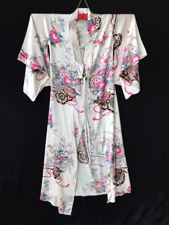 Kimono Long Robe White Floral Tropical Night Wear