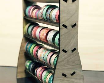 Wooden Washi Tape Storage Rack - Holds 90+ Standard Washi or Decorative Tape Rolls