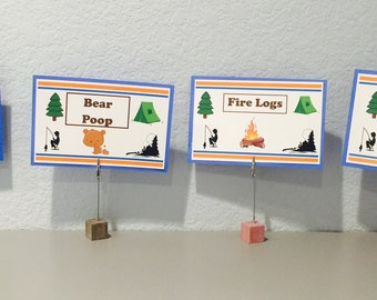 Camping/Fishing Themed Food Signs