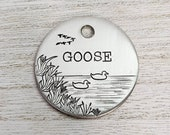 Duck Lake ID Tag, Name tag for dog, Handstamped Pet ID, Personalized Dog Tag, Smashpaw,