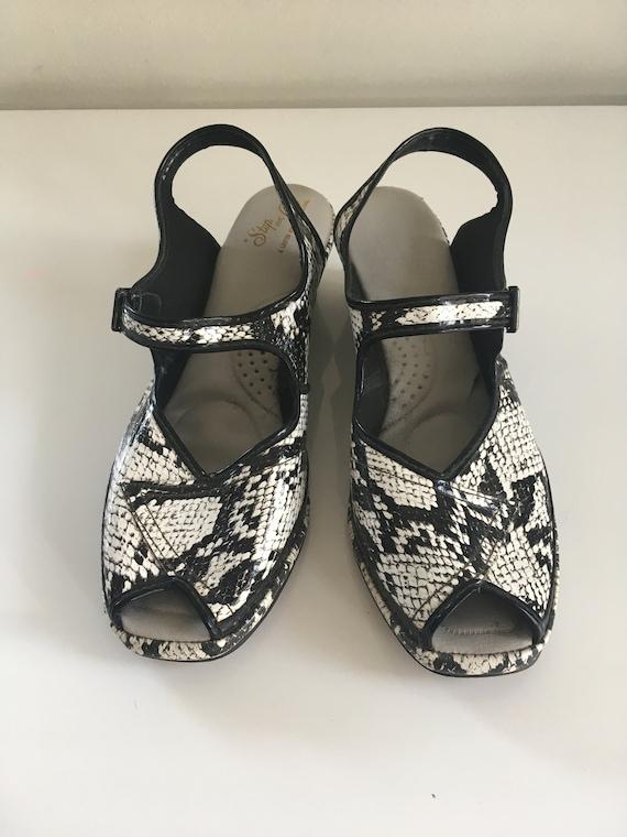 Vintage Black & White, Snake Print Peep Toe Sandal