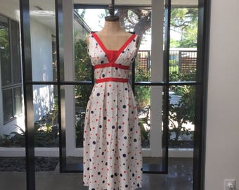 Hand made 50s style pokadot red white and blue dress