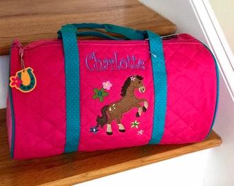 2d22a12b06b0 Personalized Girl Horse Duffle Bag