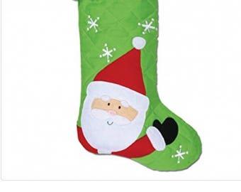 Personalized Christmas Stocking, Soft Santa Clause Stocking, quilted Christmas stocking