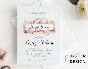 Bridal Shower Invitation, Floral Bridal Shower Invite, Bridal Shower Invitation Printable, Bridal Shower Invite, Watercolor Bridal Shower