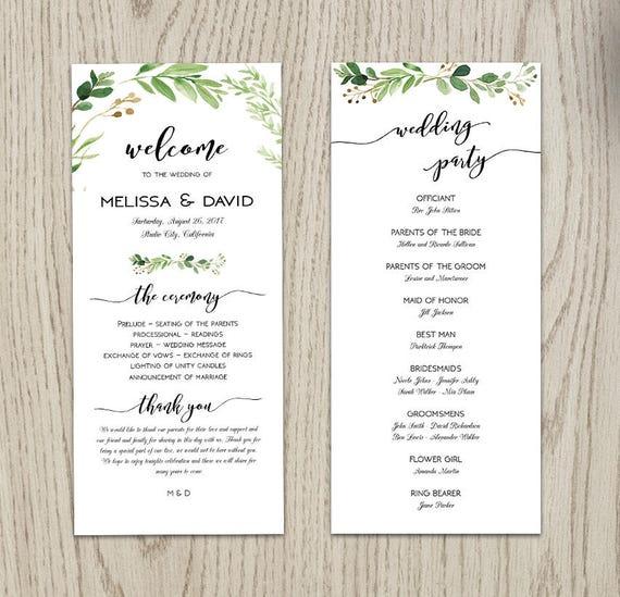 8c62feb18b4fb Wedding Program Template, Printable Wedding Program, Wedding Program  Printable, Ceremony Printable Template, Custom Service