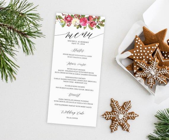 Decoration De Menu De Noel.Christmas Wedding Menu Printable Wedding Menu Menu Card Rustic Dinner Menu Menu Wedding Wedding Menu Template Custom Wedding Menu