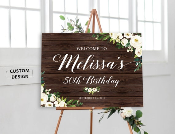 birthday welcome sign rustic birthday signs printable etsy