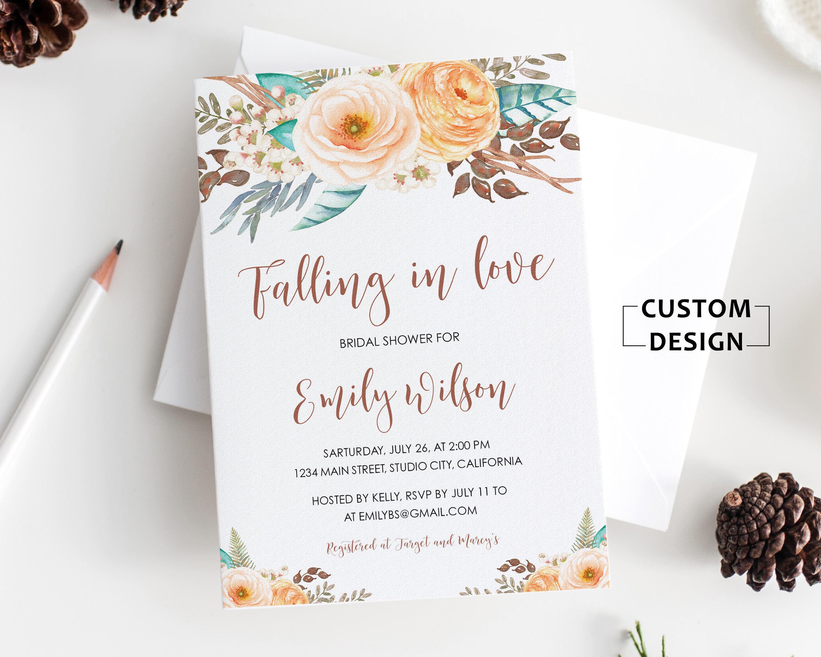 Bridal Shower Invitation Floral Bridal Shower Invite Bridal | Etsy