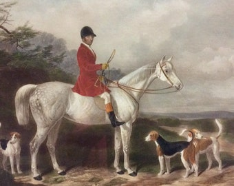 "Edward Hacker - W&H Barraud ""MR. Will Long on Bertha"" Horse Fox Hunting Dog Wall Art"