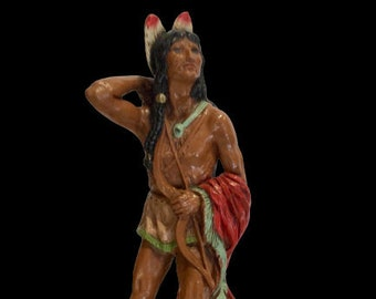 Native American Statue Indian Brave With Bow And Arrows  by Universal Statuary Corp  70s