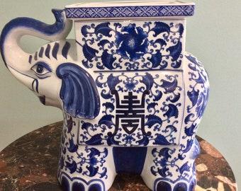 Ceramic Asian Elephant Planter Vase Blue & White Bombay Company