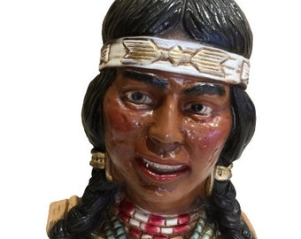 Vintage Native American Indian Head Bust Statue by Universal Statuary