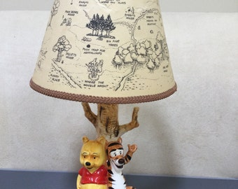 Vintage Winnie The Pooh and Tigger Table Lamp with Disney Village Shade