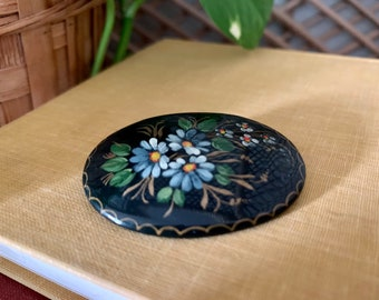 Vintage Russian Hand painted Brooch | Vintage Russian Folk Art Brooch