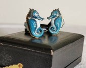 Vintage 60 39 s Toshikane Seahorse Porcelain and Silver Cufflinks, Hand Carved, Hand Enamel Painted, Japan