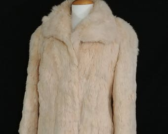 Vintage 1970's Apricot Rabbit Fur Coat Size Large/Retro Boho Chic Festival, Glam Rabbit Fur Coat