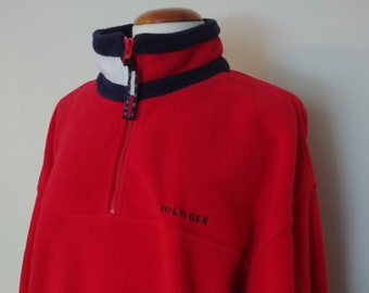 0d758a8b Vintage 90's Tommy Hilfiger Fleece Pullover, Sweatshirt, Sweater, Spell  Out, Flag Collar, Nineties Hilfiger Hip Hop Rap Street Wear