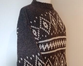 8ff3a42c179954 Vintage Wool Nordic Sweater, Retro 80's Heavy Hand Knit Men's Ski Sweater,  Size Medium