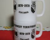 Vintage Milk Glass 70 39 s Northwest Territories Centennial Mug Collectible Glasbake Seventies Milk Glass Coffee Cup