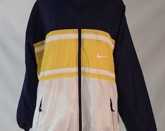 b8a604e3d9c9 Vintage 90s Nike Color Blocked Lined Windbreaker. Retro Nike Big Swoosh