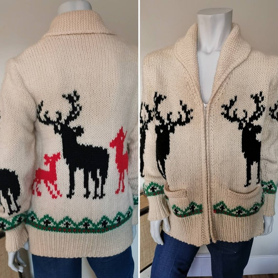 Vintage Deer Cardigan Sweater Mary Maxim Hand Knit