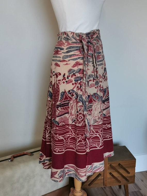 Vintage 70s Cotton  Indian Wrap Skirt, Asian Print