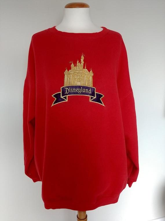 Vintage Disneyland Castle Silhouette Sweatshirt, 80\u0027 90s Souvenir Mickey  Inc Red Pullover, Men\u0027s Large, XL