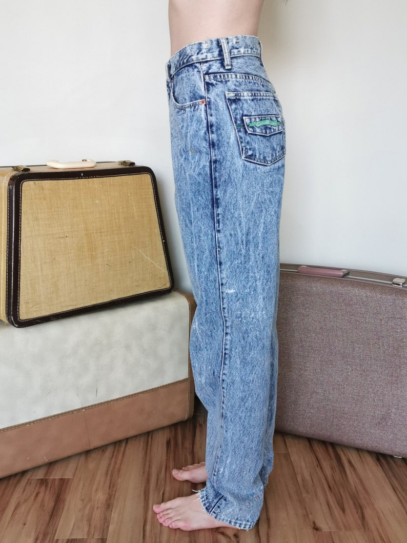 Vintage 80/'s Acid Wash High Waisted Tapered Code Bleu Jeans 27 Waist XS Long Mom Jeans