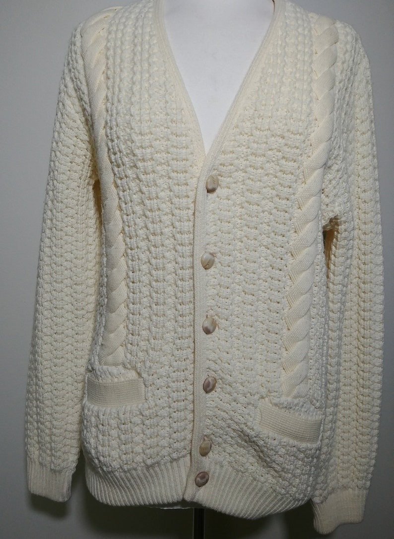 85a35dddbc0e77 Vintage 70's 80's Men's Cable Knit Cardigan Retro | Etsy