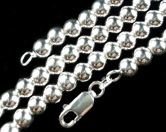 """5MM Solid 925 Sterling Silver Italian HOLLOW BEAD Chain Women's Necklace Made in Italy, 7.5"""", 16"""" 18"""" or 20"""" Inches Shiny Mirror Finish"""