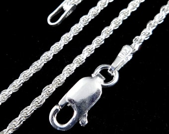 """1.5MM Solid 925 Sterling Silver Italian Diamond Cut ROPE CHAIN Bracelet or Necklace, Made in Italy, 7 8 16 18 20 22 24 26 28 or 30"""" Inches"""