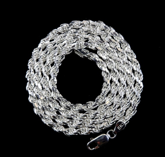 """Sterling Silver .925 2 mm 4 mm 6 mm Solide Corde Chaînes 16/"""" 30/"""" MADE IN ITALY"""