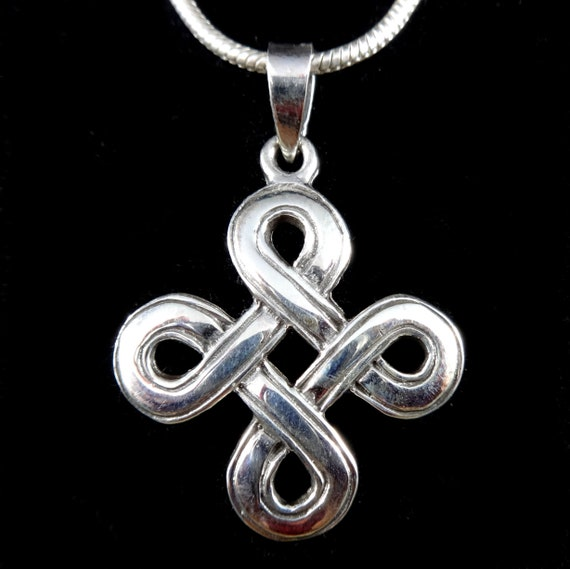 Handcrafted 925 Sterling Silver Norse//Celtic QUATERNARY SHIELD KNOT Pendant