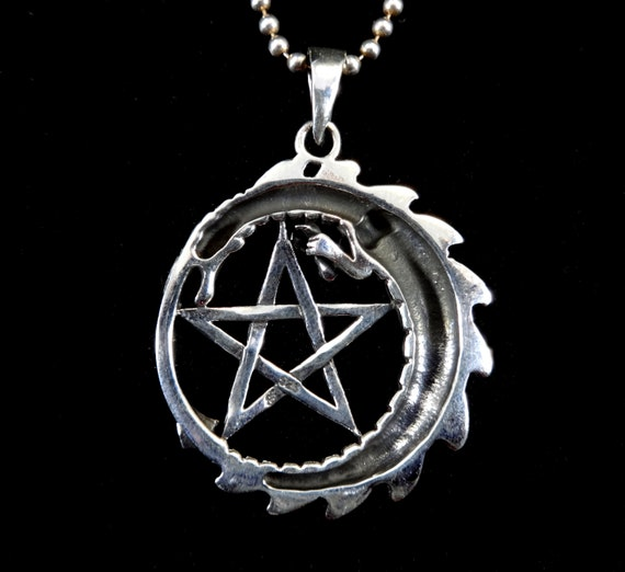 925 Sterling Silver Ouroboros Intertwined Snake Pentacle Pentagram Pendant