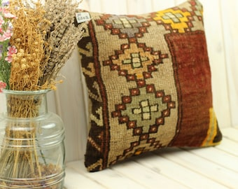 Vintage Decor Lumbar Pillow Antique Persian Rug Pillow Cover Bohemian Decor Rustic Throw Pillow Moroccan Style Couch Cushion Case 16*16in