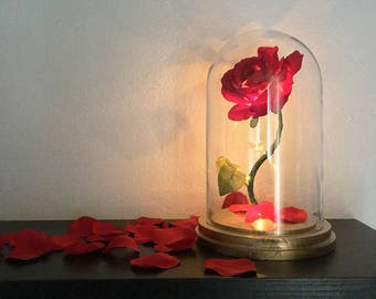 Enchanted Rose Flower Lamp, Beauty and the Beast Enchanted Rose, Rose in Glass Dome, Gold Base, Flower Lamp, Light Up Rose, LED Lights - 11""