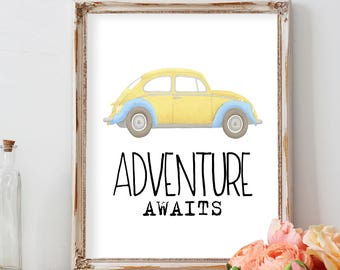 Adventure Awaits, Adventure time, Nursery Wall Art, Nursery Art, Boy Nursery Decor, Baby Boy Nursery, Baby Boy gift,  Baby Shower Gift Print