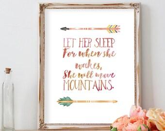 Let Her Sleep for when She Wakes She Will Move Mountains, Nursery Decor, Nursery Wall Art, Nursery Prints, Baby Girl Nursery, Sister Gift