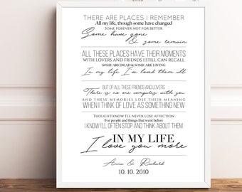 The Beatles Song Lyrics Print Beatles In My Life Lyrics Beatles Lyrics, Wedding Gift Song Lyrics Wall Art, Wall Art Prints Paper Anniversary
