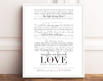 Song lyric art print etsy ed sheeran thinking out loud personalized wedding couples gift gift for wife stopboris Choice Image