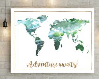 Printable Wall Art World Map Poster World Map, World Map Art, World Map Wall Art, Map Print, Map Art, Wanderlust, Adventure Time, Home Decor