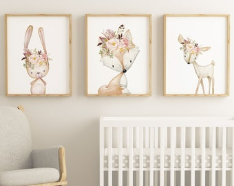 Nursery Wall Art Nursery Art Set Of 3 Prints Woodland Nursery Woodland  Animals Kids Wall Nursery