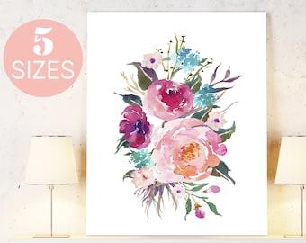 Floral art, Watercolor Print, Floral Print, printable art, printable wall art, wall art prints inspirational art Flower Prints Digital Print